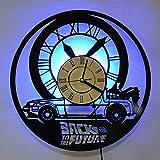 Yyifan - Reloj de pared con luz LED, diseño de disco de vinilo, regreso al futuro, decoración de casa, reloj de pared a mano, moderno, regalos creativos de vacaciones, 30 cm
