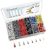 1800pcs Wire Ferrules Terminals Kit, Camtek Ferrule Crimping Kit Assortment Ferrule Wire Crimp Pin Terminal Connector Wire Ends Terminals AWG 22-7