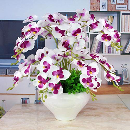 JHDPH3 Composizione Floreale Artificiale con Vaso in Porcellana Bianca, Fiori Artificiali E Interno Piante, Plastica 55 Cm * 45 Cm (Color : White)