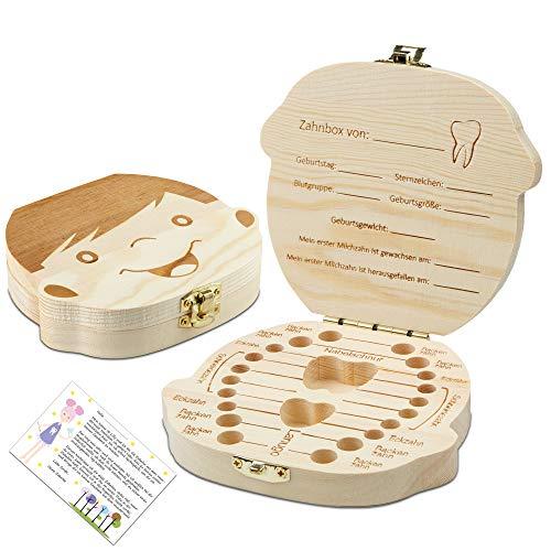 Original Little Moonshine Zahndose Milchzähne inkl. Geschichten der Zahnfee - Zahnbox für Milchzähne aus Holz für Mädchen und Jungen - Milchzahndose Holz - Geschenkideen zu Taufe und Geburtstag