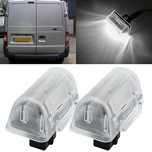 2 piezas de luz LED blanca para placa de matrícula para Ford Transit MK5 MK6 MK7 1985-1992, alimentado por 18SMD Xenon blanco luces LED