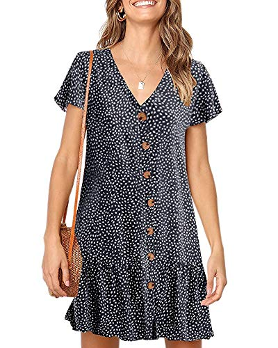 Chuanqi Womens Polka Dot V Neck Button Down Ruffles Casual Loose Swing Short Mini T-Shirt Dress(Small, Z-Navy)