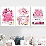Labios rosados Tacones Bolsa Libro Moda Perfume Arte de la pared Pintura en lienzo Carteles nórdicos e impresiones de la pared Cuadros para la sala...