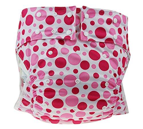 【ぴゅありぼん】大人用 かわいい オムツ カバー 2color フリーサイズ TOKYO GOODS MARKET (水玉赤ピンク)