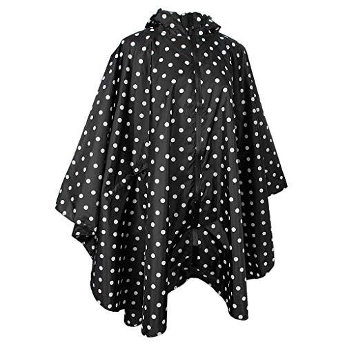 joyMerit Chaqueta Impermeable Ligera Impermeable con Capucha Al Aire Libre Activo para Las Mujeres - Punto negro, Única