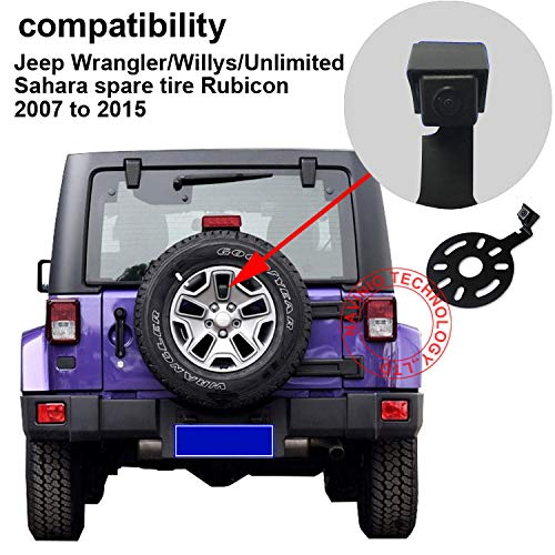 Dynavsal HD Caméra de Voiture Vision Nocturne IR Grand angle de 150-170 degrés Imperméable Caméra de Recul Pour Jeep Wrangler / Willys /Unlimited Sahara spare tire Rubicon 2007 to 2015 (❤ HD Ordinary Lens)