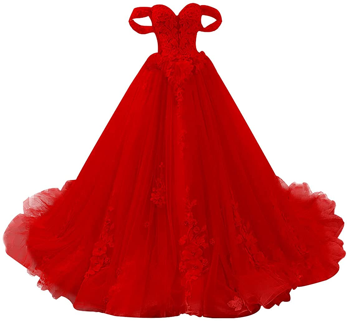 Prom Dress Long Quinceanera Dresses Off Shoulder Tulle Formal Evening Gowns Princess Prom Dress Lace