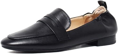 AJUNR Femmes Loisirs Le Printemps des Chaussures Chaussures De Femme Version Coréenne Baitao 1 Cm Plat Unique Petites Chaussures en Cuir Une Pédale
