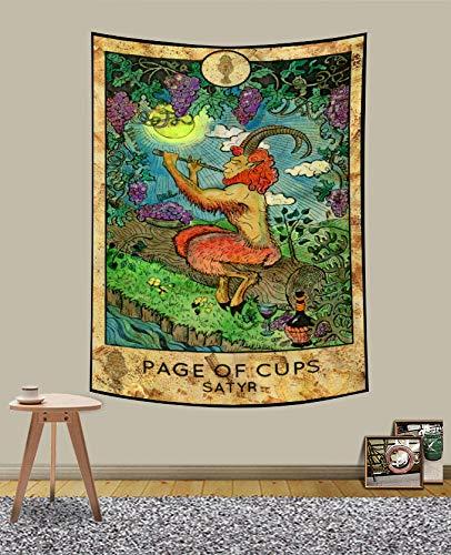 UHOMETAP Tarot Card Tapestry Greek Mythology Satyr Wall Art Hanging Bohemian Vintage Style Tarot Tapestry Living Room Bedroom Dorm Decor 40x60 Inches GTQQUH856