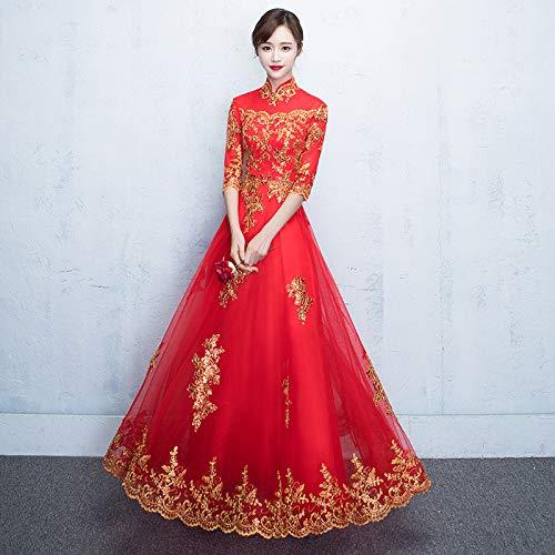 Handaxian Langärmliges weibliches Cheongsam-Kleid aus besticktem Netz Elegantes Kleid für Brauttoast Cheongsam 13 XS