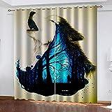 LJUKO Cortina Opaca En Cocina El Salon Dormitorios Habitación Infantil 3D Impresión Digital Ojales Cortinas Termica - -Animal Lobo Creativo