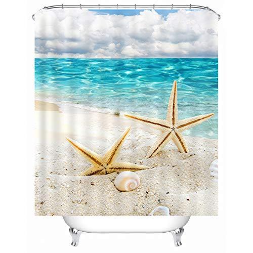 asadsafe Seestern Strand Ozeanblau Blank Cloud Bad Hochwertige Duschvorhang, Stilvolle Wasserdicht Und Mehltau Duschvorhang Mit 12 Haken 180X180 cm