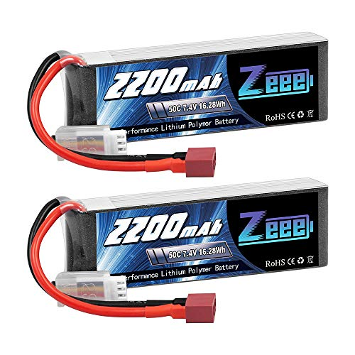 Zeee 2S Lipo Akku 7,4V 50C 2200mAh RC Batterie mit Deans T Stecker für RC Auto Truck Flugzeug Heilikopter Boot RC Hobby (2 Packungen)