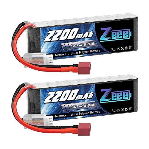 Zeee 2S Lipo Batterie 2200mAh 7,4V 50C 2S Batterie RC avec connecteur T pour FPV Racing Drones Vélo de Route Quadcopters Avion Hélicoptère RC Bateau RC Voiture (2 Paquets)