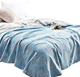 MEJU Coral Muslin Lightweight Summer Blanket for Bed Sofa Couch, 100% Combed Cotton 3 Layer Soft Warm Quick Dry Throw Blanket Bed Coverlet Sheet (Coral, Twin 59' X 78')