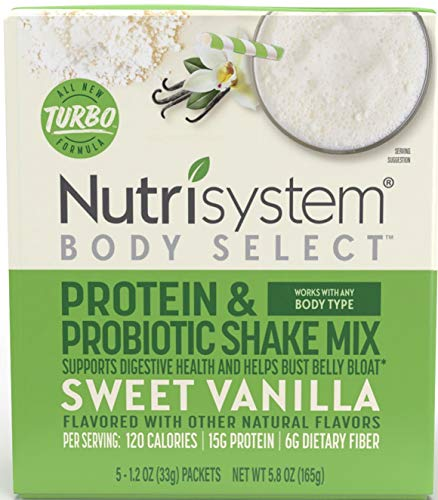 Nutrisystem Turbo Shake Probiotics, VANILLA Shake Mix, 5 Little Packets (Nutrisystem TUrbo shake Vanilla)