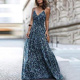 Domary Vestido longo feminino com estampa de leopardo com decote em V alças de ombro espaguete sem mangas vestido maxi casual