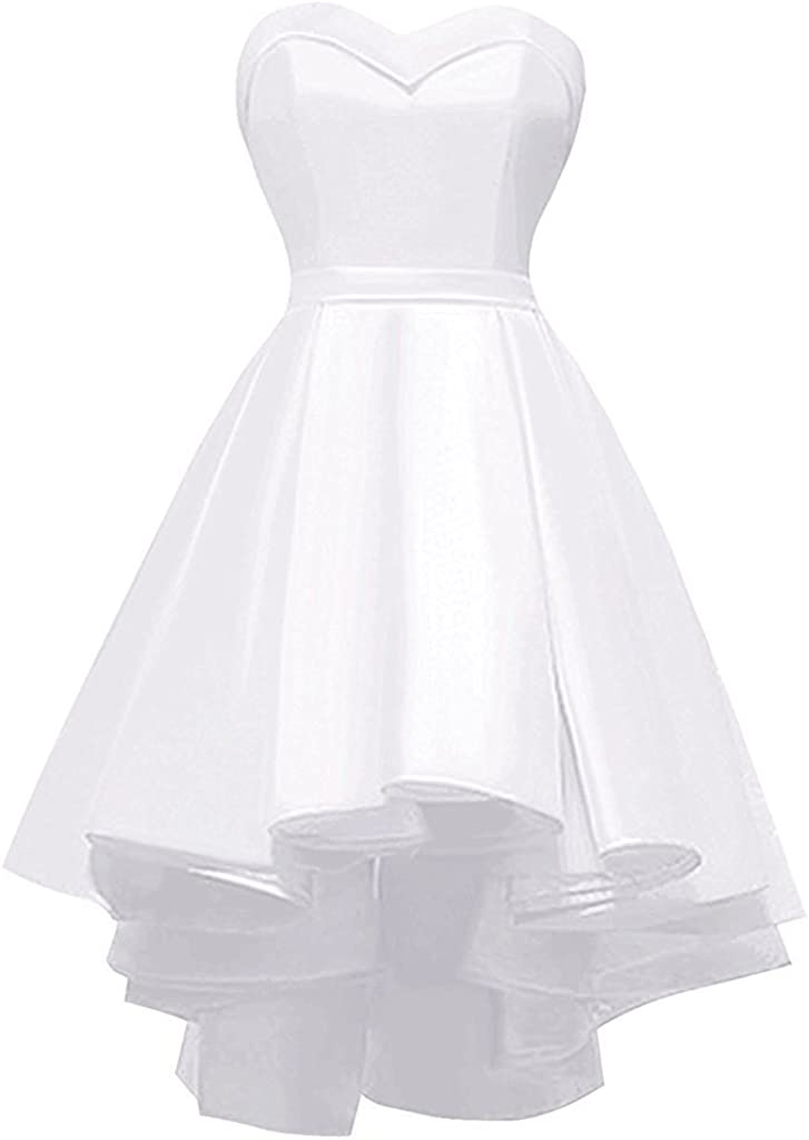 Lianai Women's High Low Short Prom Homecoming Dress Satin Cocktail Party Ball Gown
