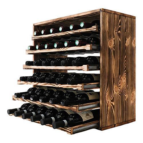 Schöne Modulare Weinregale in quadratischen Modulen, die 60x60 cm messen und die Sie leicht verbinden können (Geflammtes Kiefernholz, 36 Flaschen)