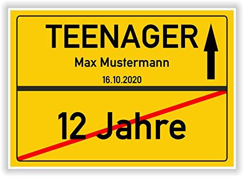 Von 12 Jahre zum Teenager - Ortsschild - Bild - persönliches Geschenk zum 13 Geburtstag mit Name und Datum - personalisierte Geschenkidee Hinweisschild Party Deko Karte...