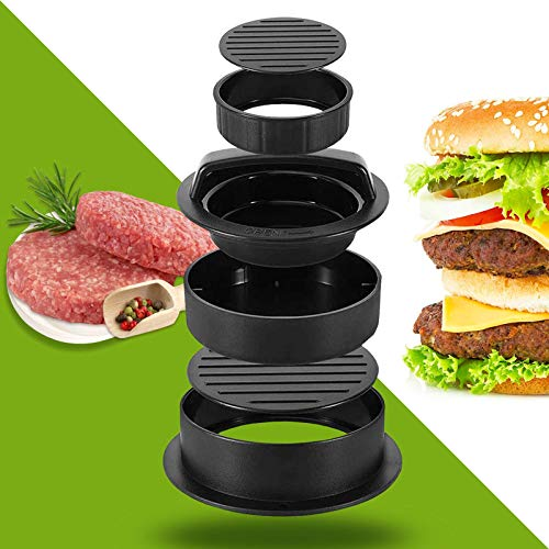 GUANG ZHIZHUO Hamburger Press Patty Maker, 3 in 1 Non-Stick Burger Press for Making Delicious Burgers, Perfect Shaped Patties, for Grilling and Cooking, with 40 PCS Wax Paper