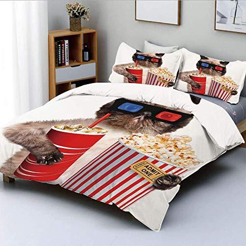 Qoqon Bettbezug-Set, Katze mit Popcorn und Getränk Filmgläser ansehen Entertainment Cinema DecorativeDecorative 3-teiliges Bettwäscheset mit 2 Kissen Sham, MultiFarbe, Kinder