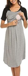 FRana Maternity Dresses for Women Daily Nursing Nightgown Patchwork Breastfeeding Nightshirt Sleepwear