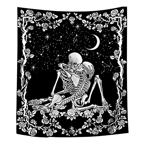 MOVKZACV Tapiz de calavera para amantes de los besos, tapiz de esqueleto humano, tapiz de tarot, color blanco y negro, para decoración de sala de estar, dormitorio