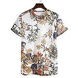 Shirt Playa Hombre Slim Fit Verano Cuello Redondo Manga Corta Hombre Shirt Moda Vintage Estampado Hombre T-Shirt Clásica Cómoda Vacaciones Sueltas Hombres Shirt Ocio T010 M