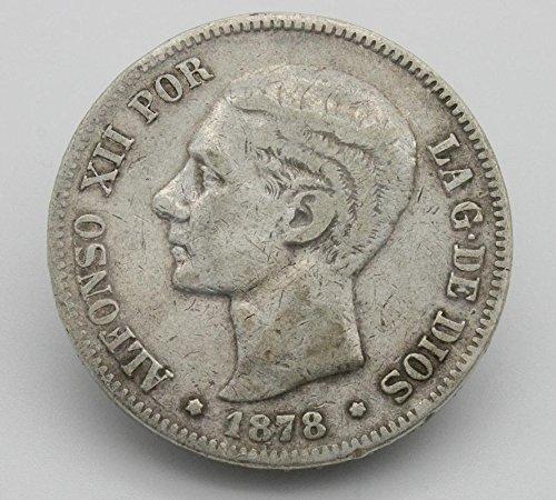 Desconocido Moneda de 5 Pesetas de Plata del Año 1878 Durante La Epoca del Rey Alfonso XII. Moneda Coleccionable. Moneda de España. Moneda de Colección