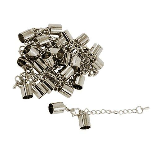 Sharplace 12 Stück DIY Schmuck Basteln Endkappe Endkappe Verschluss Halskette Extender Armband Verlängerung Kette Set fü Schmuckherstellung - Silber