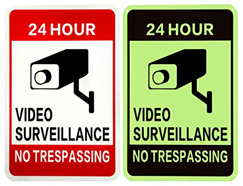 WISLIFE Video Surveillance Sign - One Piece, 40 Mil Rust-free Aluminum Sign, Home Business 24 Hours Security, No Trespassing Security Sign 10' X 14' (Only 1, Day & Night )