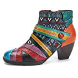 gracosy Block Heel Ankle Booties,Women's Bohemian Color Splicing Pattern Side Zipper Ankle Leather Boots Blue 9 B(M) US