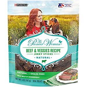 The Pioneer Woman Made in USA Facilities, Grain Free, Natural Dog Jerky Treats, Beef & Veggies Recipe Jerky Sticks – (6) 5 oz. Pouches