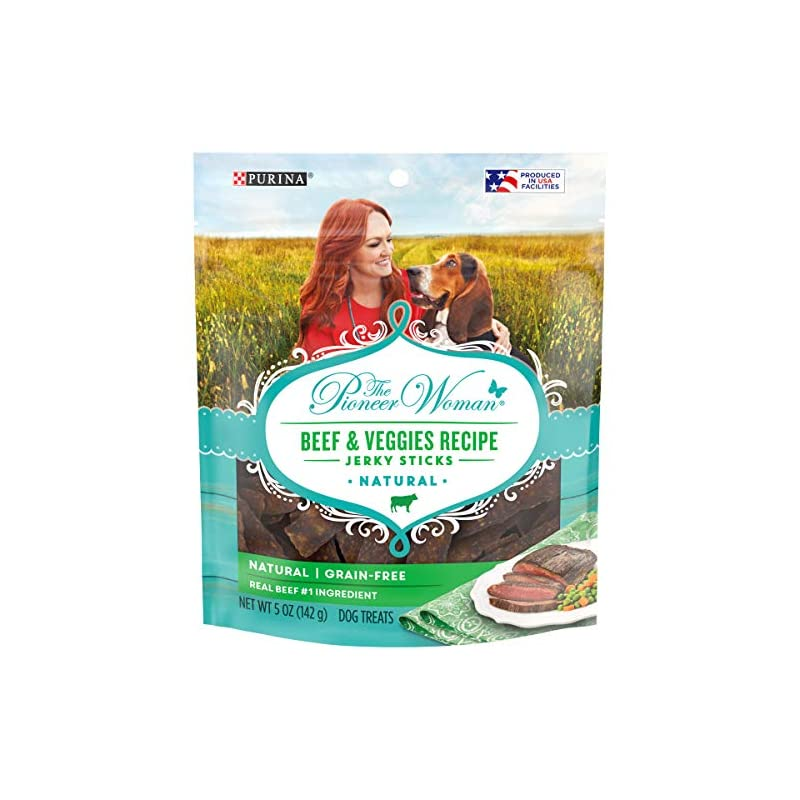 dog supplies online the pioneer woman made in usa facilities, grain free, natural dog jerky treats, beef & veggies recipe jerky sticks - (6) 5 oz. pouches