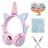 [2021 Upgrade] Charlxee Kids Wireless Headphones with Microphone for School,Giant Unicorn Gifts for Girls Children Birthday,On Over Ear Wired Headset with HD Sound/Kindle/Tablet(Princess,Pink)