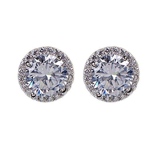 Amesii, orecchini a bottone placcato platino con zircone di cristallo incastonato, eleganti, da donna