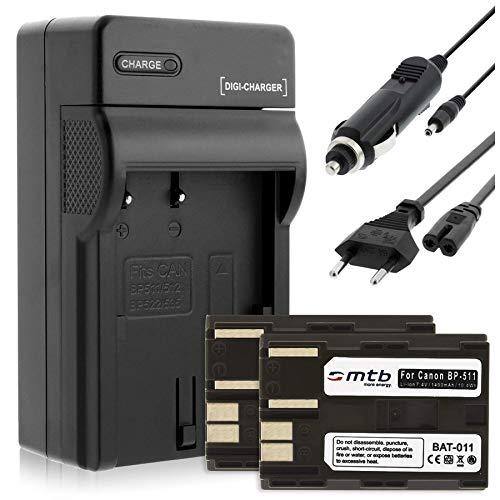 2 Akkus + Ladegerät (KFZ, Netz) für Canon BP-511 / EOS 5D, 10D, 50D. / Powershot G1, G2, G6 / Optura. s. Liste!