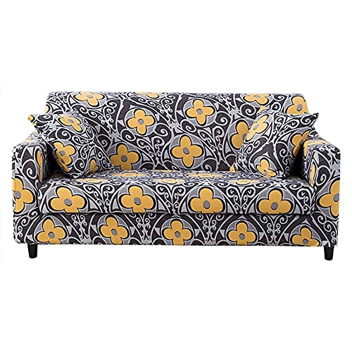 WXQY Funda de sofá elástica geométrica para Sala de Estar, combinación Moderna, Funda de sofá de Esquina, Funda Protectora para Silla, A4, 4 plazas