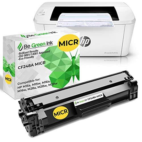 Be Green Ink Laserjet M15w MICR Check Printer Plus BGI Compatible Replacement CF248A 48A MICR Toner Combo (3,000 Checks per Cartridge)