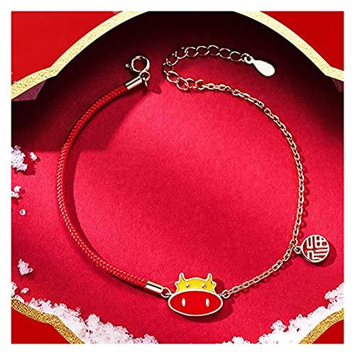 AnimeFiG Lucky Charm Bracelet 2021 Año del OX S925 Cambio DE Color Color CABEZ CABEZO DE OXTÍNICO FU Pendiente Red Rope Pulsera ADJUTEBLE AMULOTE Ward Off OFRY Spirits, Oro Rose