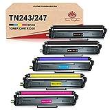 Toner Kingdom Cartucho de tóner de repuesto para Brother TN247 TN243 para MFC-L3750CDW MFC-L3770CDW DCP-L3510CDW DCP-L3550CDW HL-L3210CW HL-L3230CDW HL-L3270CDW MFC-L3710CW MFC-L3730CW (5 unidades)