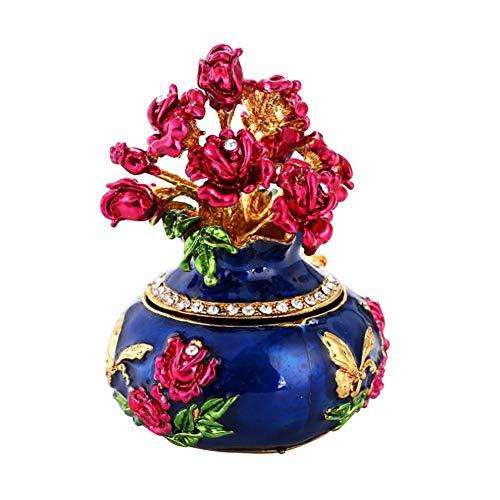 Asiproper Schönheit Ei Luxus Emaille Schmuck Aufbewahrungsbox Osterei Jeweled Schmuckstück Metall Vase Handwerk Geschenk Ornamente (Blau)