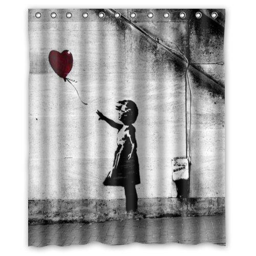 CHATAE Banksy Duschvorhang mit Luftballon-Motiv, wasserdicht, mit 12 Haken, 152,4 x 182,9 cm