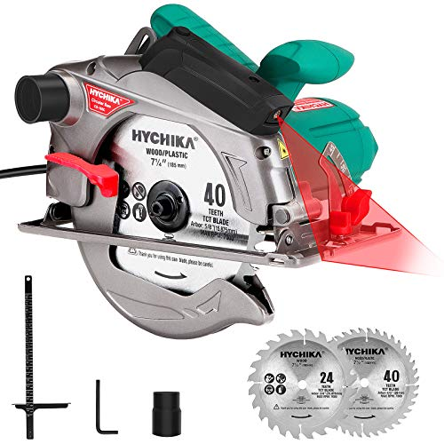"""Circular Saw with Laser Guide,HYCHIKA 1500W/12.5A Corded Electric Saw with 4700RPM, 2Pcs Blades(24T+ 40T) plus 1 Allen Wrench, Max Cutting Depth 2-1/2""""(90°), 1-4/5""""(45°)"""