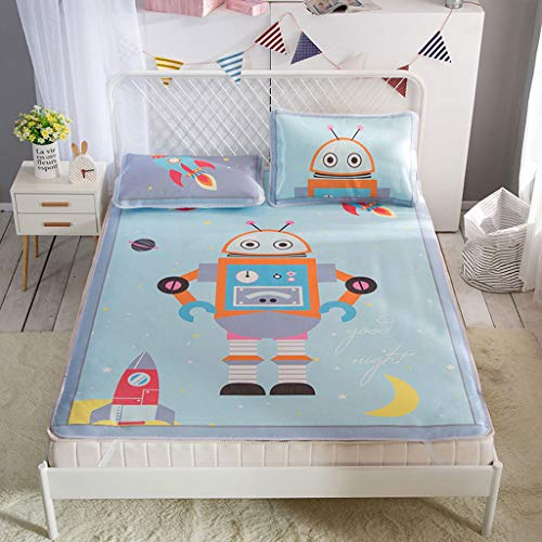 CPPI-1 Summer Sleeping Cooling Mat for Baby, -0.9m -1.8m bed, Washable Foldable Mattress Protection Cover Breathable Bed Rest Mat, Cartoon Robot -Star Elephant -Smiley-