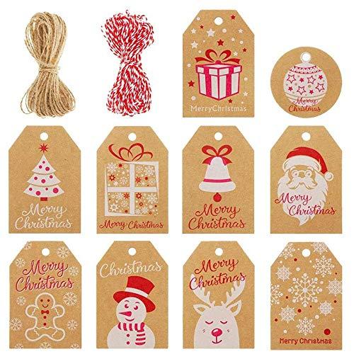 Gesh 100 etiquetas de papel kraft para colgar etiquetas con cuerda de cordel, 10 estilos con copo de nieve, árbol de Navidad, Papá Noel
