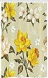 ABAKUHAUS Frühling Schmaler Duschvorhang, Blumennarzissen-Zweig, Badezimmer Deko Set aus Stoff mit Haken, 120 x 180 cm, Gelbe Khaki Creme