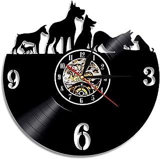 ビニールレコードの壁掛け時計、ヴィンテージビニールレコード 掛け時計 12'' (30cm) サイレントクォーツムーブメント ペット愛好家 のための 最高の贈り物
