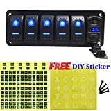 FABOOD F 5 Gang Aluminum Rocker Switch Panel - 5 Pin ON Off Toggle Switch with Blue LED Backlit, Wiring Harness Pre-Wired Easy Installation 12V 24V for Boat Car Marine ATV UTV